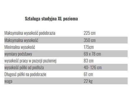 wymiary sztalugi studyjnej XL pozioma