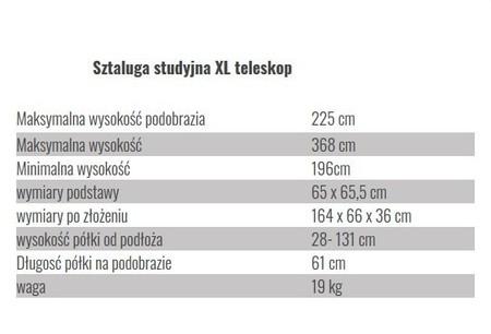 wymiary sztalugi studyjna XL teleskopowa