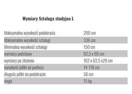 Wymiary sztalugi studyjnej L